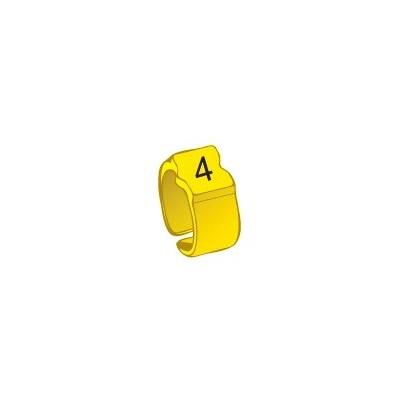 Bague chiffre 4 jaune