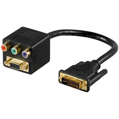 Adaptateur DVI-I vers 3 RCA (RGB)+ VGA