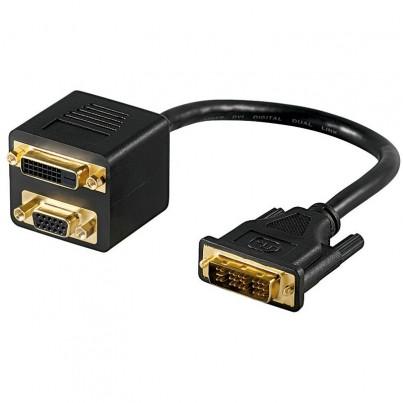 Adaptateur DVI-D M vers DVI-D F+ VGA F