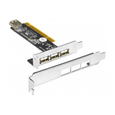 Carte PCI USB 2.0 3+1 + equerre low-profile