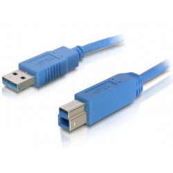 Cordon USB3.0 AB M/M 1,80m Bleu