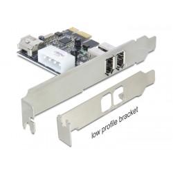 Carte PCI-Express Firewire Low profile 2+1 ports