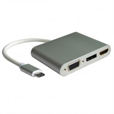 Adaptateur USB-C vers VGA+HDMI+DP